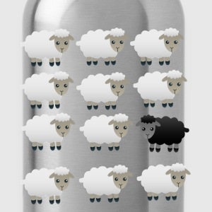 BLACK AND WHITE FLUFFY SHEEP PRINT Long Sleeve Shi - Water Bottle