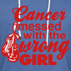 Cancer Messed With The Wrong Girl Long Sleeve Shirts - Unisex Lightweight Terry Hoodie