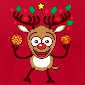 Cool Reindeer Decorating for Christmas Long Sleeve Shirts - Men's T-Shirt by American Apparel