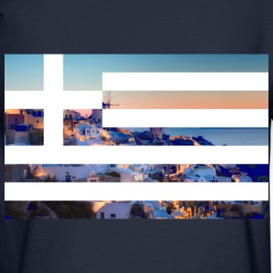Santorini ft. Greece flag Hoodies - Men's Long Sleeve T-Shirt