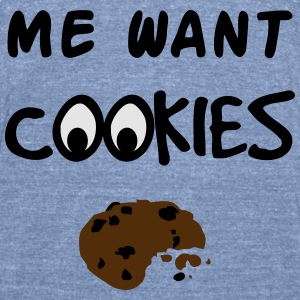 Me Want Cookies Long Sleeve Shirts - Unisex Tri-Blend T-Shirt by American Apparel