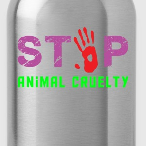 stop animal cruelty men black t shirt - Water Bottle