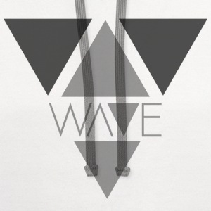 White Minimalist Wave T-Shirt - Contrast Hoodie