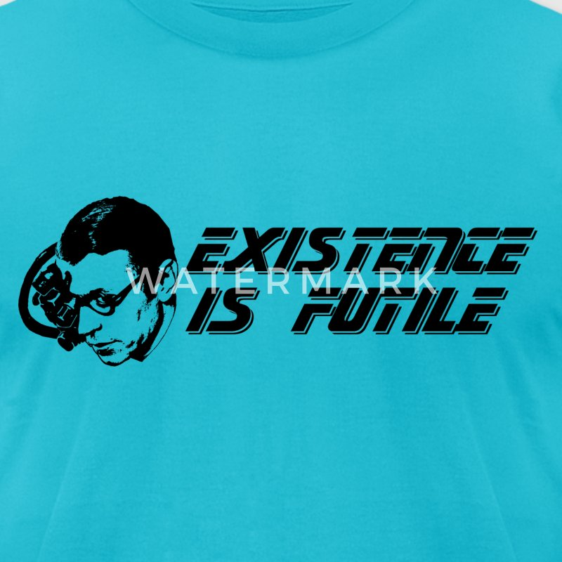 Jean-Paul Sartre Borg Star TrekExistence Is Futile T-Shirts - Men's T-Shirt by American Apparel