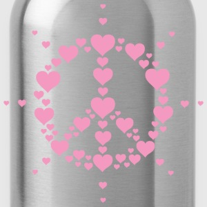 Hearts Peace Hippie Symbol Hippy Freedom love Sign - Water Bottle