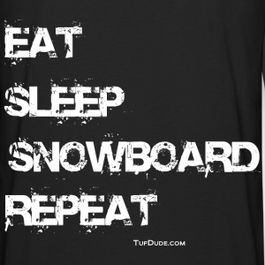 Eat Sleep Snowboard Repeat Hoodie - Back Print - Men's Premium Long Sleeve T-Shirt