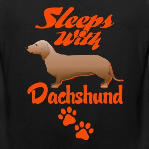 Sleeps With Dachshund Women's T-Shirts - Men's Premium Tank