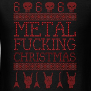 METAL FUCKING CHRISTMAS-UGLY XMAS SWEATER STYLE Long Sleeve Shirts - Men's T-Shirt