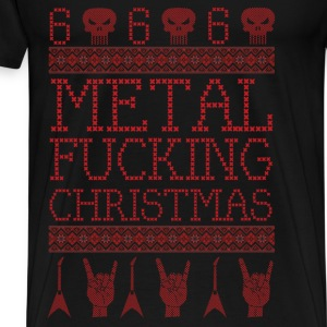 METAL FUCKING CHRISTMAS-UGLY XMAS SWEATER STYLE Long Sleeve Shirts - Men's Premium T-Shirt