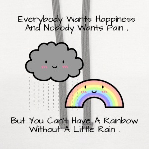 Cute Rainbow Happiness Quote Women's T-Shirts - Contrast Hoodie