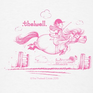 PonyJump Pink Thelwell Cartoon Buttons - Men's T-Shirt