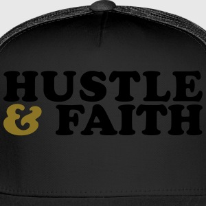 Hustle and Faith Christian Urban T-shirt Long Sleeve Shirts - Trucker Cap