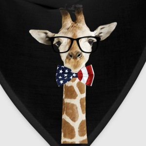 Patriotic hipster Giraffe with American Bowtie - Bandana