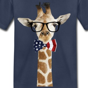 Patriotic hipster Giraffe with American Bowtie - Toddler Premium T-Shirt