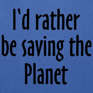Saving The Planet T-Shirt (Men Blue&White) - Tote Bag