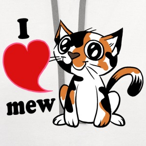 I heart mew Calico Cat Women's T-Shirts - Contrast Hoodie