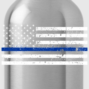 tattered distressed thin blue line flag vintage - Water Bottle