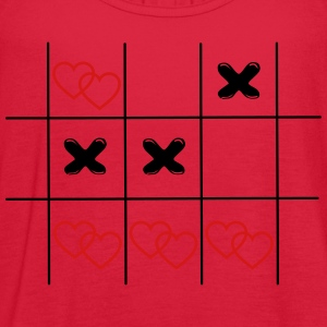 Tic Tac Toe hearts in love game vintage drawing Wo - Women's Flowy Tank Top by Bella