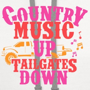 COUNTRY MUSIC UP- TAILGATES DOWN - Contrast Hoodie