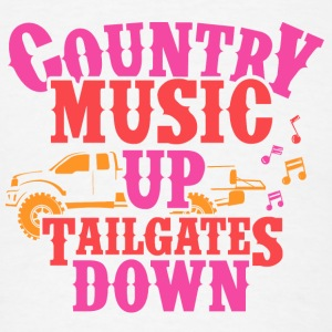 COUNTRY MUSIC UP- TAILGATES DOWN - Men's T-Shirt