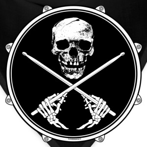 Drummer Pirate Skull - Ladies T Shirt. - Bandana