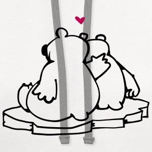 Two Polar Bears in Love Polo Shirts - Contrast Hoodie