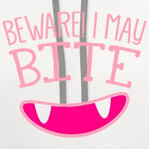 BEWARE I MAY BITE! with cute teeth T-Shirts - Contrast Hoodie