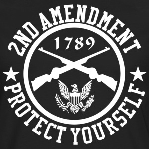 2ND Amendment Protect Yourself White US Custom Ink T-Shirts - Men's Premium Long Sleeve T-Shirt