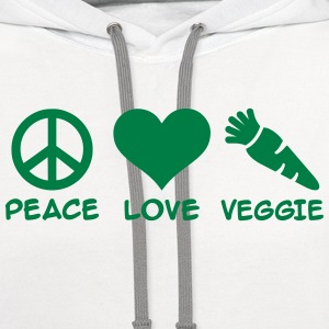 Peace Love Veggie T-Shirts - Contrast Hoodie