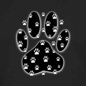 Black Paw With White Paw Prints All Over - Men's Premium Long Sleeve T-Shirt
