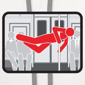 NYC  Subway Pole Dancer (red means bad) - Contrast Hoodie