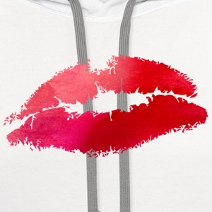 Watercolor Lips- Kiss Women's T-Shirts - Contrast Hoodie