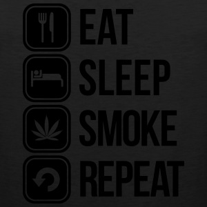 eat sleep smoke repeat T-Shirts - Men's Premium Tank