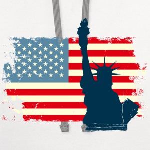 Liberty Statue USA Flag Women's T-Shirts - Contrast Hoodie