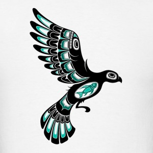 Teal Blue Haida Bird Long Sleeve Shirts - Men's T-Shirt