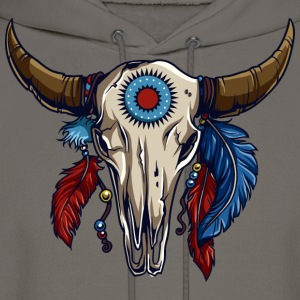 American Indian Steer Skull - Men's Hoodie