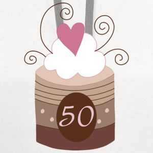50th Birthday Cake Design Women's T-Shirts - Contrast Hoodie