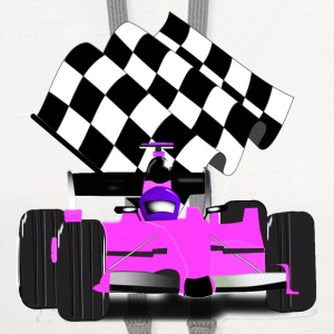 Pink  Race Car  with Checkered Flag - Contrast Hoodie