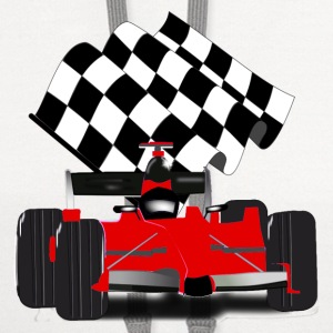 Red Race Car with Checkered Flag - Contrast Hoodie