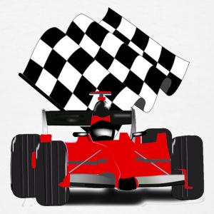 Red Race Car with Checkered Flag - Men's T-Shirt