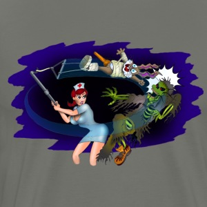 Nurse Zombie Fighter Sweatshirt - Men's Premium T-Shirt