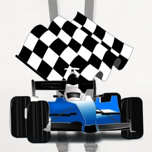 Blue Race Car with Checkered Flag - Contrast Hoodie