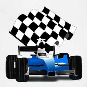 Blue Race Car with Checkered Flag - Adjustable Apron