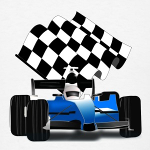 Blue Race Car with Checkered Flag - Men's T-Shirt