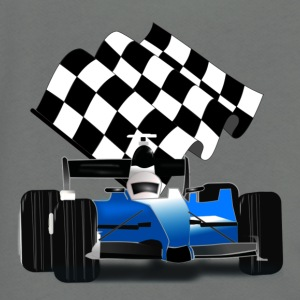Blue Race Car with Checkered Flag - Unisex Fleece Zip Hoodie by American Apparel
