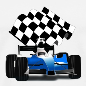 Blue Race Car with Checkered Flag - Men's Premium T-Shirt