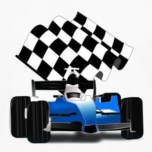 Blue Race Car with Checkered Flag - Men's Premium Long Sleeve T-Shirt