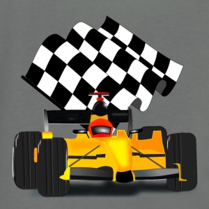 Yellow Race Car with Checkered Flag - Unisex Fleece Zip Hoodie by American Apparel
