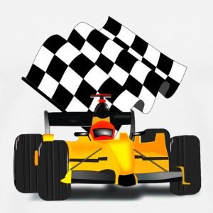 Yellow Race Car with Checkered Flag - Men's Premium T-Shirt