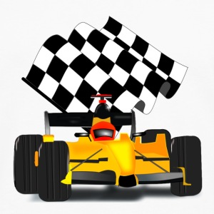 Yellow Race Car with Checkered Flag - Men's Premium Long Sleeve T-Shirt